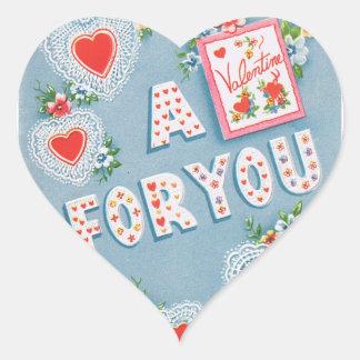 Corazones del el día de San Valentín del vintage Pegatina En Forma De Corazón