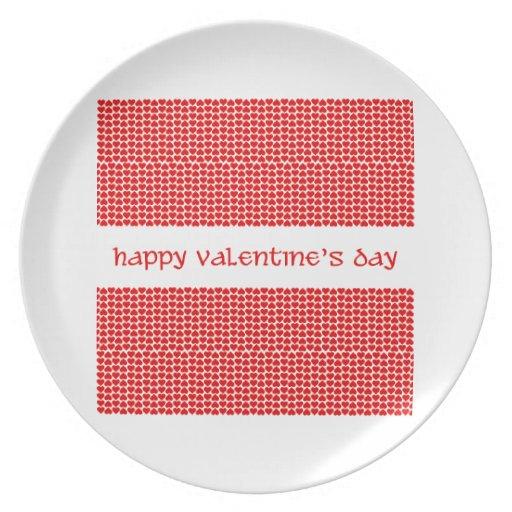 Corazones del el día de San Valentín Plato De Comida