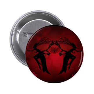 Corazones del Faery rojos Pin Redondo De 2 Pulgadas