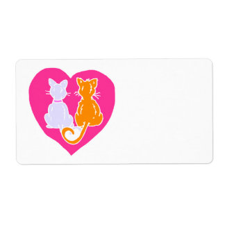 Corazones del gatito etiqueta de envío