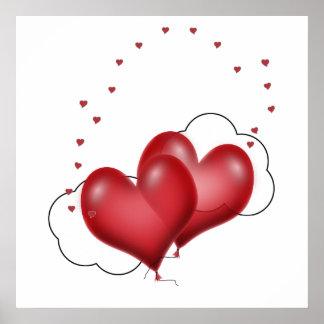 Corazones del globo con los pequeños corazones impresiones