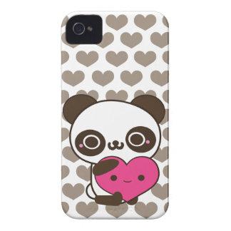Corazones del gris del rosa del amor de la panda iPhone 4 carcasa