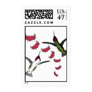 Corazones del Grunge de los pájaros del tarareo Timbres Postales