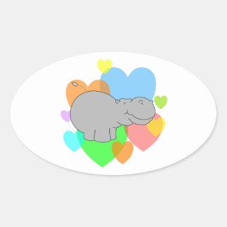 Corazones del hipopótamo calcomania óval personalizadas