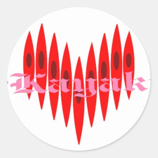 Corazones del kajak de la tarjeta del día de San Etiqueta Redonda