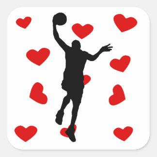 Corazones del Layup del baloncesto Calcomania Cuadradas Personalizadas