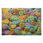 Corazones del mensaje del caramelo mantel individual