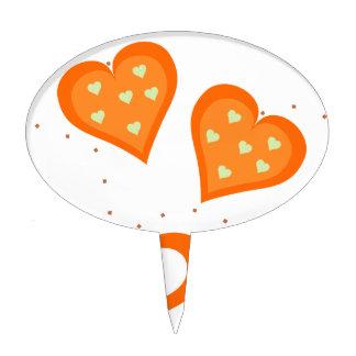 Corazones del naranja del día de San Valentín Decoración Para Tarta