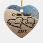 Corazones del navidad 20XX dos en el ornamento del Adorno Navideño De Cerámica En Forma De Corazón