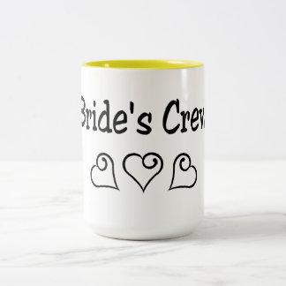 Corazones del negro del equipo de las novias taza de café de dos colores