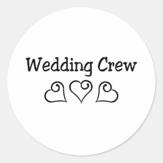 Corazones del negro del equipo del boda pegatina redonda