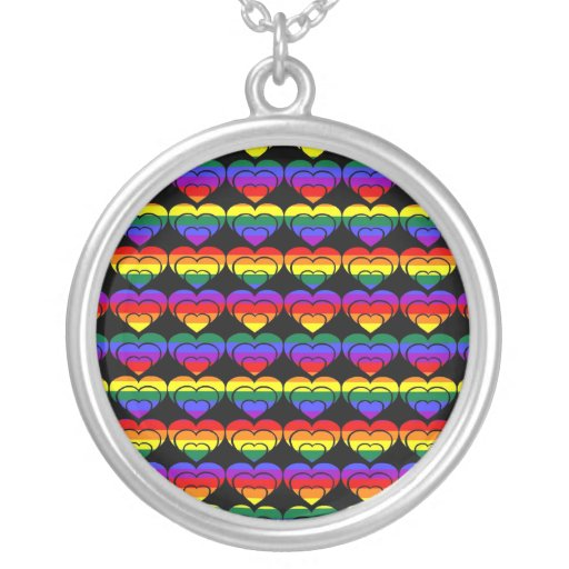 Corazones del orgullo gay del arco iris (3) collares personalizados