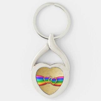 Corazones del oro de Entwind en la cinta del arco Llavero Plateado En Forma De Corazón