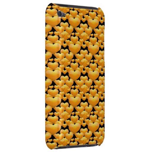 Corazones del oro en negro barely there iPod coberturas