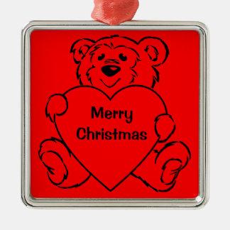 Corazones del oso de peluche adorno navideño cuadrado de metal