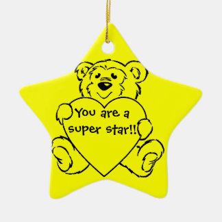 Corazones del oso de peluche adorno navideño de cerámica en forma de estrella