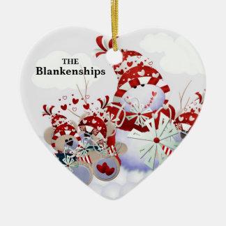 Corazones del oso de peluche del muñeco de nieve adorno navideño de cerámica en forma de corazón