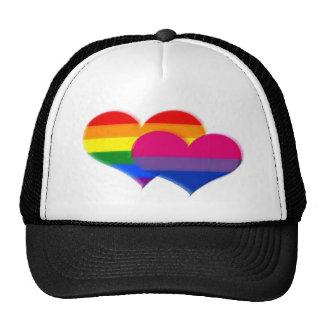 Corazones del pastel del orgullo del BI de LGBT Gorros