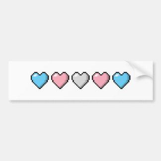 Corazones del pixel del transexual pegatina para auto