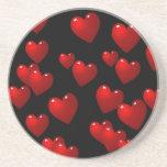 corazones del rojo 3D Posavasos Personalizados