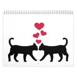 Corazones del rojo de los gatos calendarios
