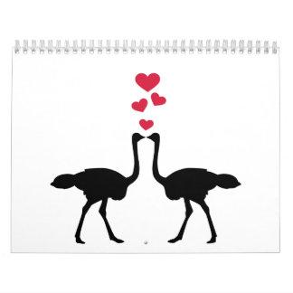Corazones del rojo de los pares de la avestruz calendarios