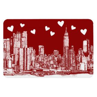 Corazones del rojo de Nueva York Imán Foto Rectangular