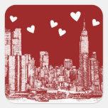 Corazones del rojo de Nueva York Colcomanias Cuadradas