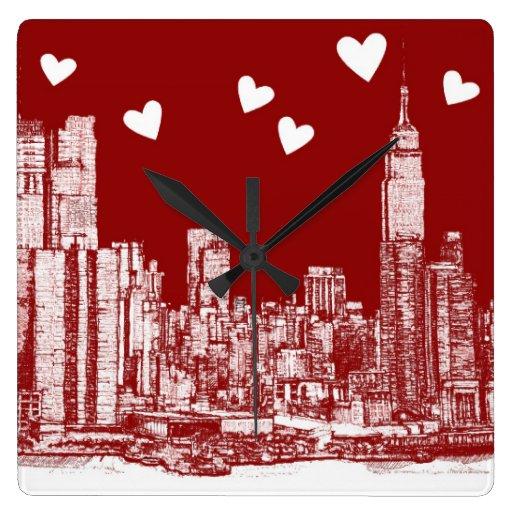 Corazones del rojo de Nueva York Relojes