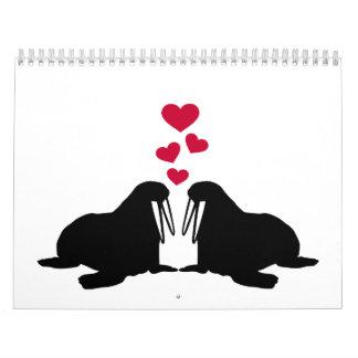 Corazones del rojo del amor de la morsa calendario