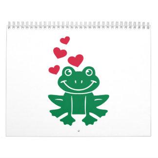 Corazones del rojo del amor de la rana calendarios de pared