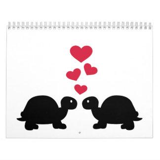 Corazones del rojo del amor de la tortuga calendarios