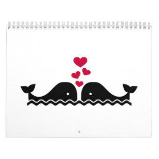 Corazones del rojo del amor de las ballenas calendarios de pared