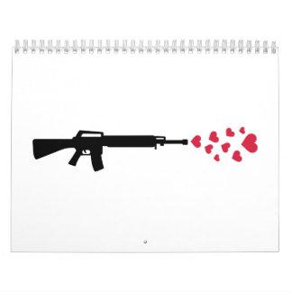 Corazones del rojo del rifle calendarios