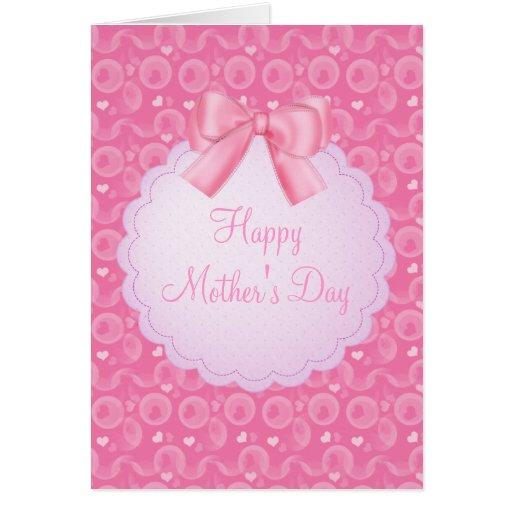 Corazones del rosa del día de madres y tarjeta