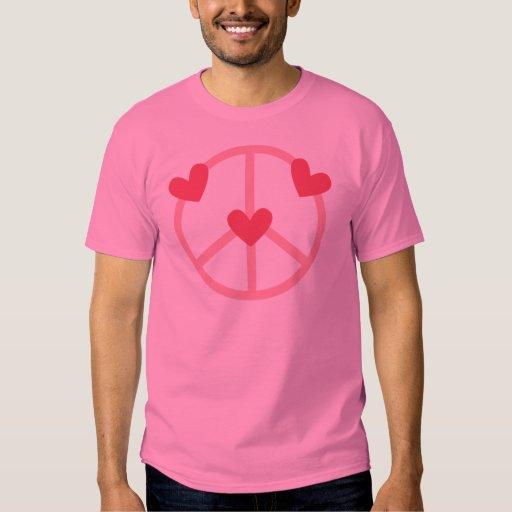 Corazones del rosa del Hippie y símbolos de paz Poleras