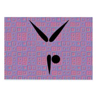 Corazones del rosa del símbolo de la gimnasia del  tarjetas de visita grandes