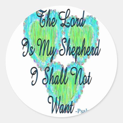 Corazones del salmo 23 pegatina redonda