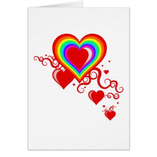 corazones del squiggle del arco iris tarjeta de felicitación