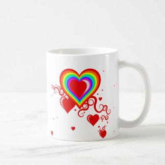 corazones del squiggle. rainbowz. tazas de café