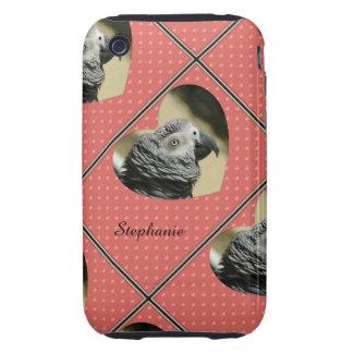Corazones del vintage del gris africano tough iPhone 3 protectores