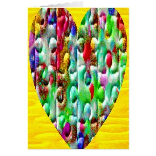 Corazones desconcertados coloreados tarjeta de felicitación