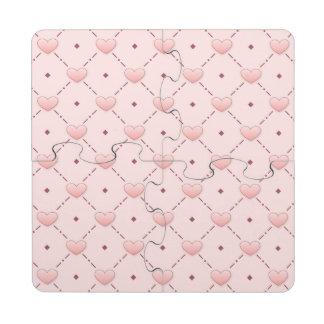 Corazones diagonales rosados del caramelo del rosa posavasos de puzzle