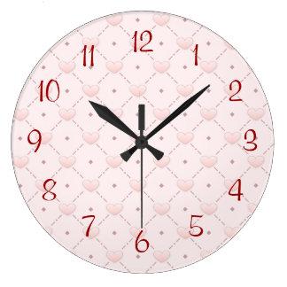 Corazones diagonales rosados del caramelo del rosa reloj de pared