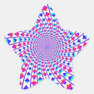 Corazones, diamantes, espadas, y clubs coloridos pegatina en forma de estrella