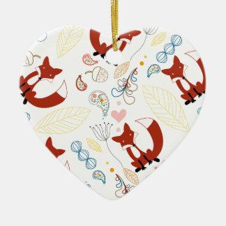Corazones dibujados mano linda del Fox en rosa Adorno Navideño De Cerámica En Forma De Corazón