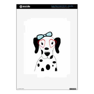 Corazones divertidos de la cara del perro dálmata iPad 3 pegatina skin