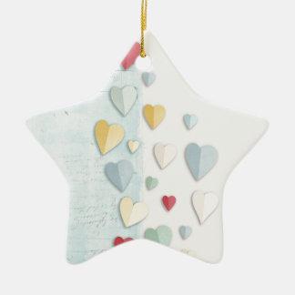 Corazones doblados fondo blanco azul ornaments para arbol de navidad
