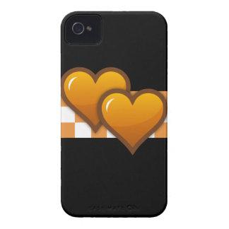 Corazones dobles anaranjados funda para iPhone 4
