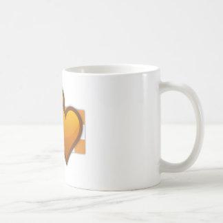 Corazones dobles anaranjados taza básica blanca